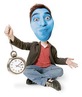 blue-faced man
