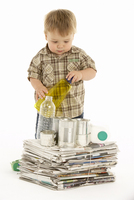 child recycles