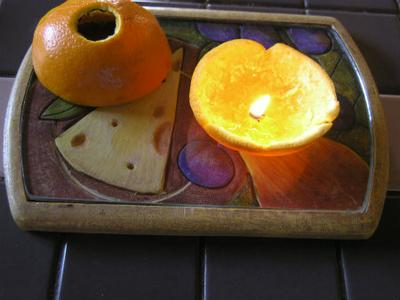 Top and Bottom Half of Orange Candle