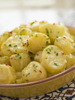 herb garnished potatoes