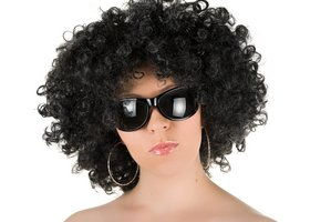 Wig and big dark sunglasses instantly disguise