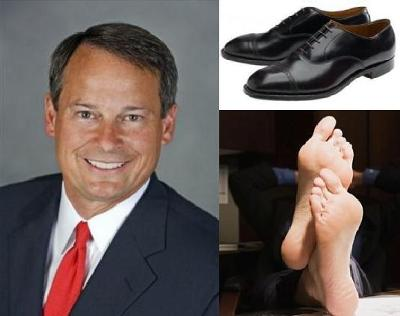 Formula For Success: Take One Well Dressed Corporate Executive (left), Strip Him of His Expensive Shoes and Socks (above right) and Create Instant Energy Savings! (below right)