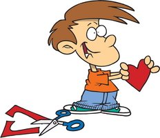 boy with valentine cut out card