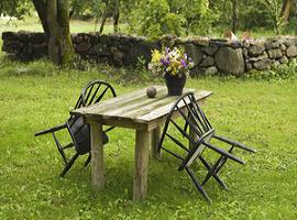 old table,chairs,flowers